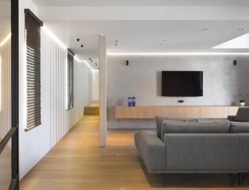 Geïntegreerde audiovisuele installatie in loft